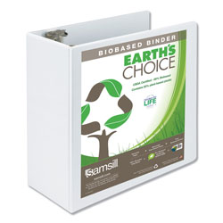 Samsill Earth's Choice Biobased Round Ring View Binder, 3 Rings, 5 in Capacity, 11 x 8.5, White