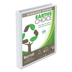 Samsill Earth's Choice Biobased Round Ring View Binder, 3 Rings, 1 in Capacity, 11 x 8.5, White
