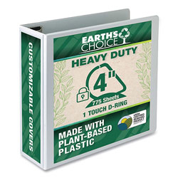 Samsill Earth's Choice Heavy-Duty Biobased One-Touch Locking D-Ring View Binder, 3 Rings, 4 in Capacity, 11 x 8.5, White