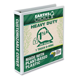 Samsill Earth's Choice Heavy-Duty Biobased One-Touch Locking D-Ring View Binder, 3 Rings, 1.5 in Capacity, 11 x 8.5, White