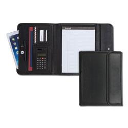 Samsill Professional Tri-Fold Padfolio w/Calculator, Writing Pad, Vinyl, Black