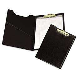 Samsill Value Padfolio, Heavyweight Sealed Vinyl, Brass Clip, Inside Front Pocket, Black
