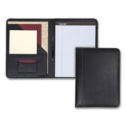 Samsill Contrast Stitch Leather Padfolio, 8 1/2 x 11, Leather, Black