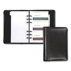 Samsill Regal Leather Business Card Binder, 120 Card Capacity, 2 x 3 1/2 Cards, Black