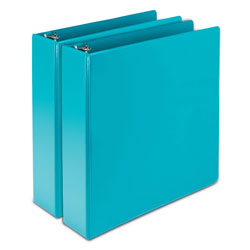 Samsill Earth's Choice Biobased Durable Fashion View Binder, 3 Rings, 2 in Capacity, 11 x 8.5, Turquoise, 2/Pack