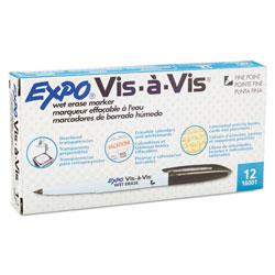Expo® Vis-à-Vis Wet Erase Marker, Fine Bullet Tip, Black, Dozen