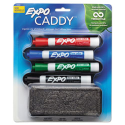 Expo® Whiteboard Caddy Set, Broad Chisel Tip, Assorted Colors, 4/Set