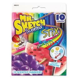 Mr. Sketch® Scented Stix Watercolor Marker Set, Fine Bullet Tip, Assorted Colors, 10/Set