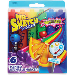Mr. Sketch® Scented Washable Markers, Chisel Pt, 6/ST, Ast