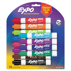 Expo® Low Odor Dry Erase Vibrant Color Markers, Broad Chisel Tip, Assorted Colors, 12/Set