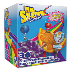 Mr. Sketch® Scented Washable Markers - Classroom Pack, Broad Chisel Tip, Assorted Colors, 36/Pack