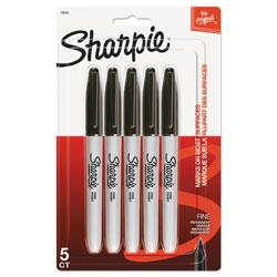 Sharpie® Fine Point Permanent Marker, Black, 5/Pack