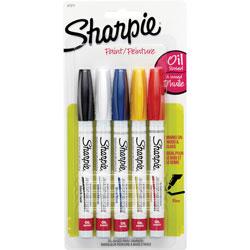 Sharpie® Oil-Based Paint Marker, Fine Point, Nontoxic, 5/PK, Assorted