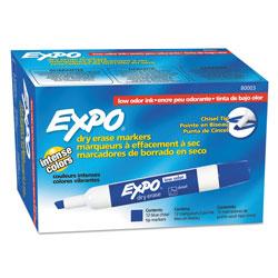 Expo® Low-Odor Dry-Erase Marker, Broad Chisel Tip, Blue, Dozen