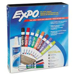 Expo® Low-Odor Dry Erase Marker, Eraser & Cleaner Kit, Assorted Tips, Assorted Colors, 12/Set