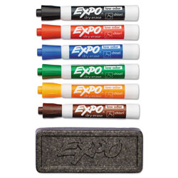 Expo® Low-Odor Dry Erase Marker & Organizer Kit, Broad Chisel Tip, Assorted Colors, 6/Set
