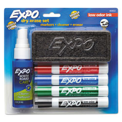 Expo® Low-Odor Dry Erase Marker Starter Set, Broad Chisel Tip, Assorted Colors, 4/Set