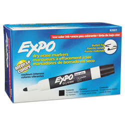 Expo® Low-Odor Dry-Erase Marker, Medium Bullet Tip, Black, Dozen