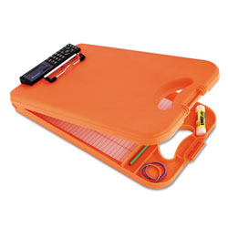 Saunders DeskMate II w/Calculator, 1/2 in Clip Cap, 8 1/2 x 12 Sheets, Hi-Vis Orange