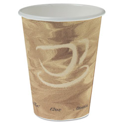 Solo Mistique Polycoated Hot Paper Cup, 12 oz., Printed, Brown, 50/Bag