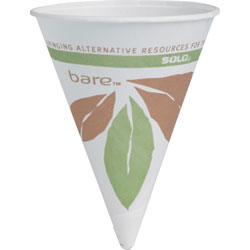 Solo Cone Cups, Paper/Dry Wax, 4 oz, 5000/CT, White