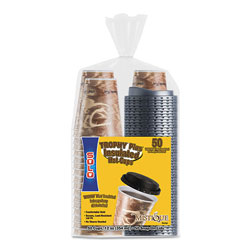 Dart Bistro Hot/Cold Foam Cups With Lids, 12 oz, Brown, 50/PK