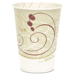 Solo Waxed Paper Cold Cups, 9 oz., Symphony Design, 100/Bag