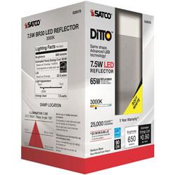 Satco Bulb, Led, 7.5W, Br30, 3000K, 3-3/4 inX5-1/2 inX3-9/10 in , White