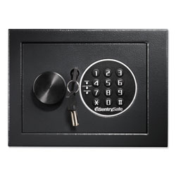 Sentry Electronic Security Safe, 0.14 cu ft, 9w x 6.6d x 6.6h, Black