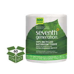 Seventh Generation 100% Recycled Bathroom Tissue, Septic Safe, 2-Ply, White, 500 Sheets/Jumbo Roll, 60 Rolls per Case, 30,000 Sheets Total