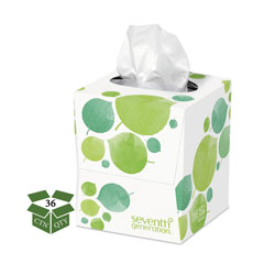 Seventh Generation 100% Recycled Facial Tissue, 2-Ply, 85 Sheets per Box, 36 Boxes per Case, 3,060 Total