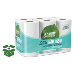 Seventh Generation 100% Recycled Bathroom Tissue, Septic Safe, 2-Ply, White, 240 Sheets per Roll, 48 Rolls per Case, 11,520 Sheets Total