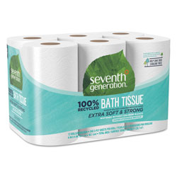 Seventh Generation 100% Recycled Bathroom Tissue, Septic Safe, 2-Ply, White, 240 Sheets per Roll, 12 Roll Pack, 2,880 Sheets Total