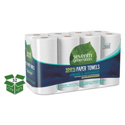Seventh Generation 100% Recycled Paper Towel Rolls, 2-Ply, 11 x 5.4 Sheets, 156 Sheets per Roll, 32 Rolls per Case, 4,992 Sheets Total