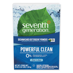 Seventh Generation Automatic Dishwasher Powder, Free and Clear, 45 oz Box, 12 Boxes per Case