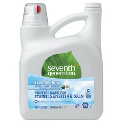 Seventh Generation Natural 2X Concentrate Liquid Laundry Detergent, Free and Clear, 99 loads, 150 oz Bottle, 4 Bottle per Case