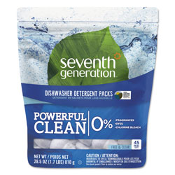 Seventh Generation Natural Dishwasher Detergent Concentrated Packs, Free & Clear, 45 Packets per Pack
