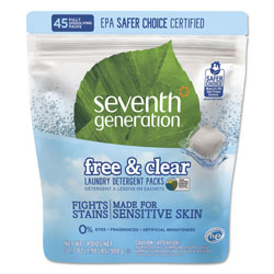 Seventh Generation Natural Laundry Detergent Packs, Powder, Unscented, 45 Packets/Pack, 8/Carton