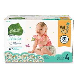 Seventh Generation Free and Clear Baby Diapers, Size 4, 22 lbs to 32 lbs, 81/Carton