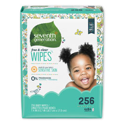 Seventh Generation Free & Clear Baby Wipes, Refill, Unscented, White, 256 Wipes per Pack, 3 Packs per Case, 768 Wipes Total