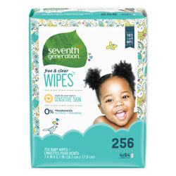Seventh Generation Free & Clear Baby Wipes, Refill, Unscented, White, 256 Wipe Pack