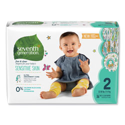Seventh Generation Free and Clear Baby Diapers, Size 2, 12 lbs to 18 lbs, 144 Diapers per Carton