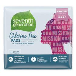 Seventh Generation Chlorine-Free Ultra Thin Pads with Wings, Super Long, 16 per Pack, 6 Packs per Carton