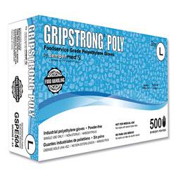GripStrong® Poly Foodservice Grade Polyethylene Gloves, Clear, Large, Polyethylene, 500/Box, 20 Boxes/Carton