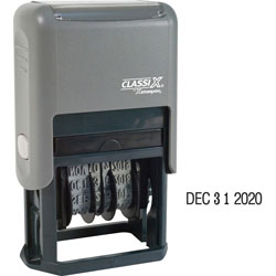 Shachihata. U.S.A. self inking line dater, 10 yr band, impression with 4 band date
