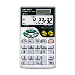 Sharp EL344RB Metric Conversion Wallet Calculator, 10-Digit LCD