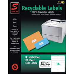 Simon Marketing 11349 Recyclable Address Label, 1-1/3 in x 4 in, White