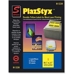 """Simon Marketing Laser Labels, 8-1/2""""x11"""", 25/PK, Yellow"""
