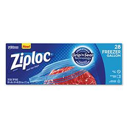 Ziploc® Zipper Freezer Bags, 1 gal, 2.7 mil, 9.6 in x 12.1 in, Clear, 28/Box