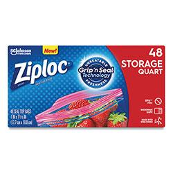 Ziploc® Double Zipper Storage Bags, 1 qt, 1.75 mil, 9.63 in x 8.5 in, Clear, 9/Carton